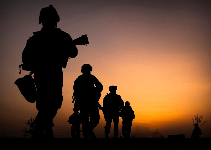Marines from Headquarters & Service Company, 3rd Battalion 3rd Marines, conducting a dawn patrol in Nawa District, Afghanistan. Official Marine Corps photo by Sgt. Mark Fayloga.