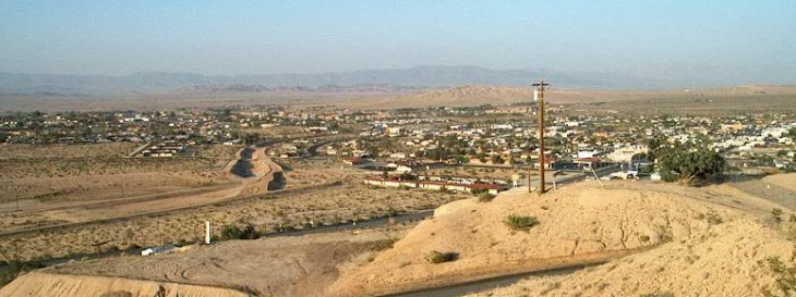 Northeast view of Twentynine Palms, California from Donnell Hill on the south side of town. Public domain image.